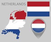 Nederländerna sjunker, kartlägger och översiktspekaren vektor illustrationer