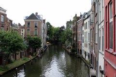 Nederländerna Utrecht, kanal Royaltyfri Foto