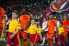 Nederländerna vs Danmark i uppgift under fotboll M Fotografering för Bildbyråer