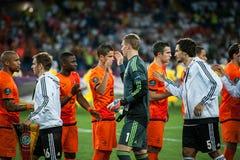 Nederländerna vs Danmark i uppgift under fotboll M Arkivfoton