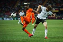 Nederländerna vs Danmark i uppgift under fotboll M Royaltyfri Foto