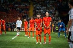 Nederländerna vs Danmark i uppgift under fotboll M Royaltyfri Bild