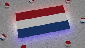 Nederländernaflaggablått vita röda Europa stock illustrationer
