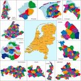 Nederländernan kartlägger vektor illustrationer