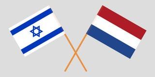 Nederland en Israël Netherlandish en de Israëlische vlaggen Officieel aandeel Correcte kleuren Vector vector illustratie