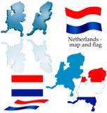Nederland - kaart en vlagreeks Stock Fotografie