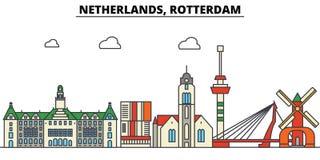 Nederland, Rotterdam De architectuur van de stadshorizon vector illustratie