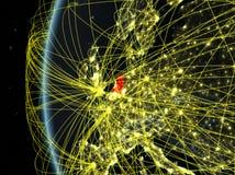 Nederland van ruimte met netwerk royalty-vrije illustratie