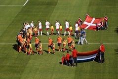Nederland versus WC 2010 van Denemarken - van FIFA Stock Fotografie