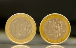 Nederlanden euro coins. One Nederlanden euro coins on black background Royalty Free Stock Photography