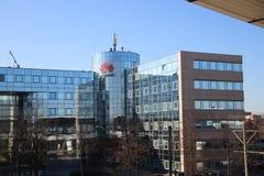 Nederlands bureau van de Chinese fabrikant van het telecommunicatiemateriaal Huawei op Voorburg Nederland stock afbeelding