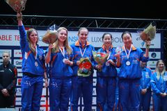 Nederlands Girl`s Team European third place 2017. 2017 European Championships -Final. Luxembourg Stock Images