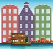 Nederlands huis naast kanaal vector illustratie