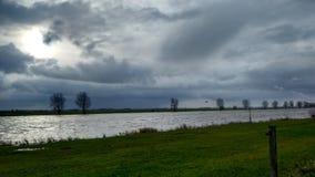 Nederlands landschap bij rivier Bergsche Maas Royalty-vrije Stock Fotografie