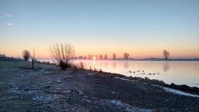 Nederlands landschap bij rivier Bergsche Maas Royalty-vrije Stock Foto