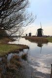 Nederlands landschap met windmolens Royalty-vrije Stock Afbeelding
