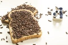 Nederlands ontbijt met brood en chocoladehagel hagelslag en de Blauwe herinnering van Delfts stock foto