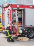 Nederlandse brandbestrijders in actie Royalty-vrije Stock Foto