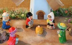 Nederlandse geboorte van Christusscène met de windmolen van Holland en de Drie Koningen Stock Afbeeldingen