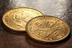 Nederlandse gouden muntstukken Royalty-vrije Stock Afbeelding