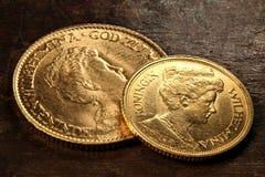 Nederlandse gouden muntstukken Royalty-vrije Stock Fotografie