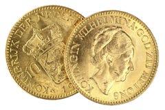 Nederlandse gouden muntstukken Stock Afbeelding