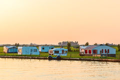 Nederlandse het kamperen plaats tijdens zonsondergang Stock Afbeeldingen