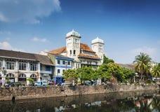 Nederlandse koloniale gebouwen in oude stad van Djakarta Indonesië Royalty-vrije Stock Afbeelding
