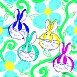Nederlandse konijntjes in de bloemen Royalty-vrije Stock Afbeeldingen