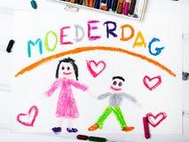 Nederlandse Moederdagkaart met woordenmoederdag Royalty-vrije Stock Afbeelding