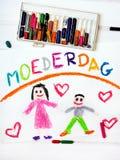 Nederlandse Moederdagkaart met woordenmoederdag Royalty-vrije Stock Afbeeldingen