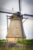 Nederlandse molens in Kinderdijk, Holland Royalty-vrije Stock Afbeeldingen
