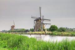Nederlandse molens in Kinderdijk, Holland Stock Foto