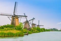 Nederlandse molens in Kinderdijk, Nederland Royalty-vrije Stock Foto's