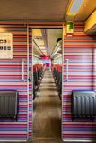NS train inside entrance to the train car first class. Nederlandse Spoorwegen Dutch Railways or NS is the principal passenger railway operator in the Netherlands stock images