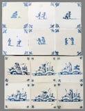 Nederlandse tegel van zestiende aan de 18de eeuw stock afbeelding