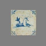 Nederlandse tegel van zestiende aan de 18de eeuw stock foto
