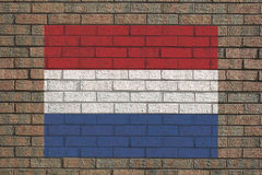 Nederlandse vlag op muur Stock Foto's