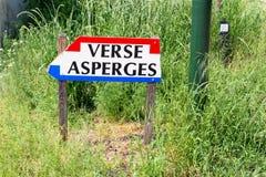 Nederlandse vlag van de verkeersteken de verse asperge, Nederland Royalty-vrije Stock Afbeeldingen
