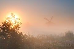 Nederlandse windmolen in mist bij zonsopgang Royalty-vrije Stock Afbeelding
