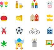 NEDERLÄNDERNA färgade plana symboler Arkivfoto