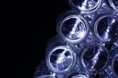 Nedersta glasflaskor Arkivbild