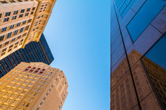 Nedersta sikt av skyskrapor, Atlanta, USA Fotografering för Bildbyråer