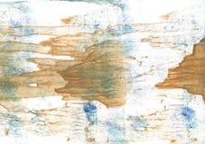 Nedfläckad vattenfärgbakgrund för bruna blått Fotografering för Bildbyråer