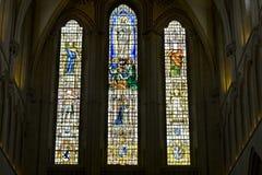 nedfläckadt brunnfönster för cathederal exponeringsglas Arkivbild