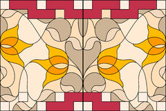 nedfläckadt fönster för exponeringsglas Sammansättning av stiliserade tulpan, sidor Fotografering för Bildbyråer