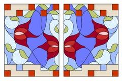 nedfläckadt fönster för exponeringsglas Sammansättning av stiliserade tulpan, sidor Arkivfoton