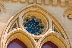 nedfläckadt fönster för härligt exponeringsglas Arkivfoto