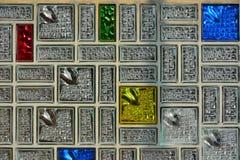 Nedfläckat fönster för exponeringsglas, mosaique Fotografering för Bildbyråer