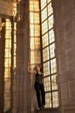 Nedfläckat gotiskt fönster för kvinna Arkivfoto